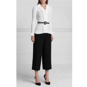 ANNE FONTAINE Parfaite White Ruffle Sweater
